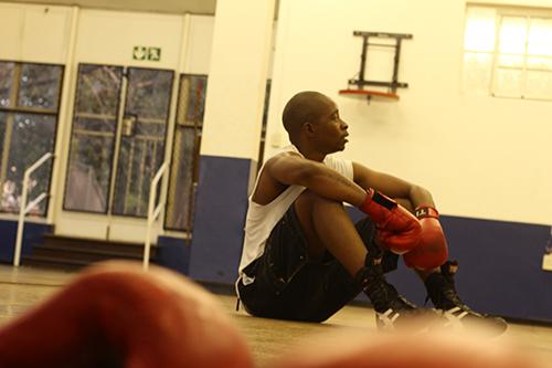 KO: Witsie Boxer and two-time Ussasa champ Sipho Mhlambi takes a break during training. Photo: Mfuneko Toyana